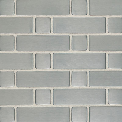 Daltile Metallica - Metal Tile Basketweave (Large) Mosaic Brushed Stainless Steel SS50 LBWMS1P