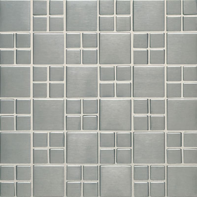 Daltile Metallica - Metal Tile Square Combination Mosaic Brushed Stainless Steel SS50 COMBMS1P