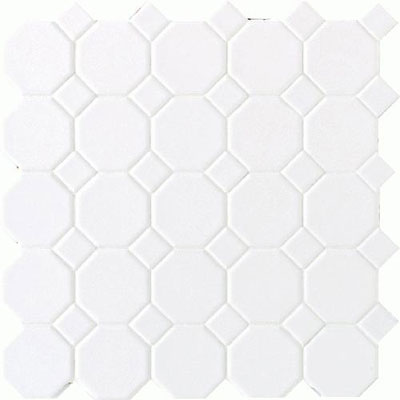 Daltile Octagon & Dot Matte White/ White Matte Dot 6501 2OCT01MS1P2