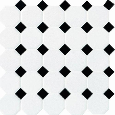 Daltile Octagon & Dot Matte White/Black Gloss Dot 6501 2OCT21MS1P2