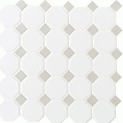 Daltile Octagon & Dot Matte White/Gray Gloss Dot 6501 2OCT44MS1P2
