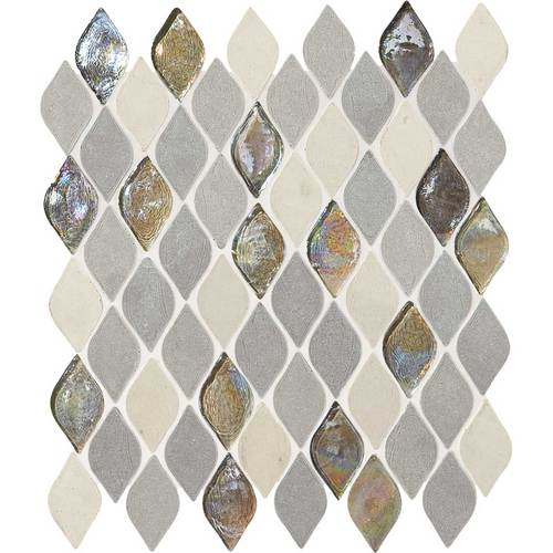 Daltile Stone Decorative Mosaics Gris Et Blanc Rain Drop DA19 RAINDRMS1P