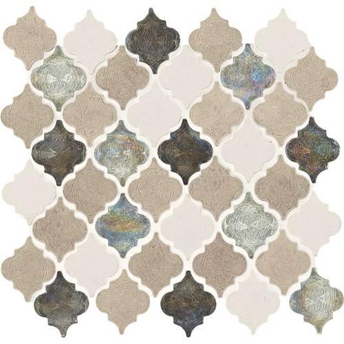 Daltile Stone Decorative Mosaics Blanc Et Beige Baroque