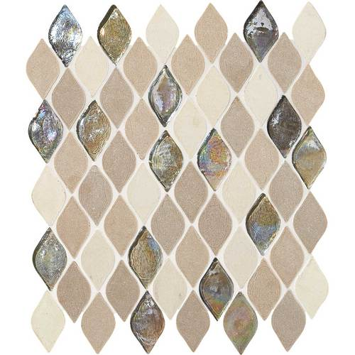 Daltile Stone Decorative Mosaics Blanc Et Beige Rain Drop DA20 RAINDRMS1P