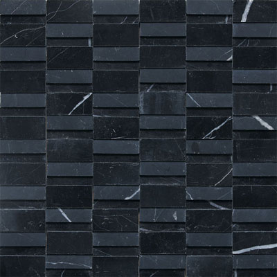 Daltile Stone a la Mod Mosaics High/Low Polished and Honed - Nouveau Nero M312 2RANDMS1P