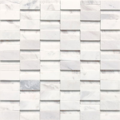 Daltile Stone a la Mod High/Low Random Polished & Honed Mosaic Contempo White