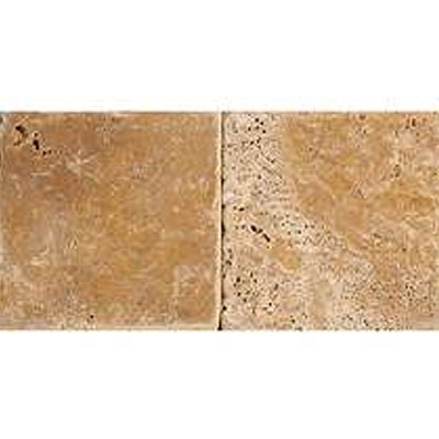 Daltile Travertine Builder Select 4 x 4 Sienna Tumbled BE12 441P