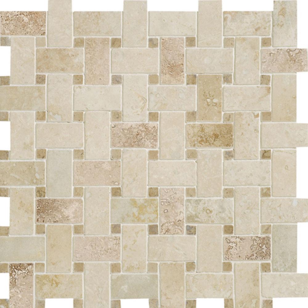 Daltile Travertine Natural Stone Unique Shapes Mosaic