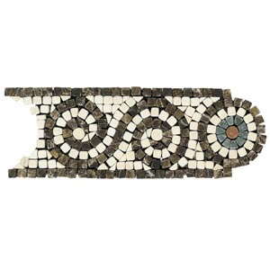Daltile Tumbled Natural Stone Mosaic Accents Marfil/Emperador Scroll TS57 410BR1P