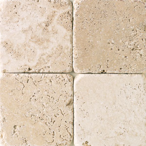 Daltile Tumbled Natural Stone 4 x 4 Mediterranean Ivory TS61 441P