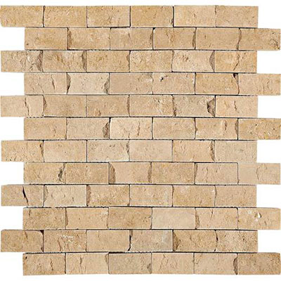 Daltile Travertine Natural Stone Mosaic Split Face Fossil Ridge T102 12SF1S