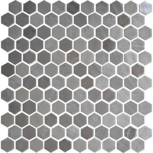 Daltile Uptown Glass Mosaics Hexagon Frost Moka Wall