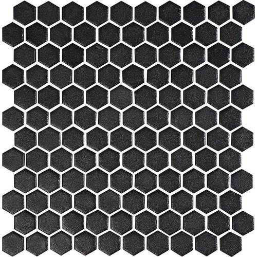 Daltile Uptown Glass Mosaics Hexagon Matte Ebony Floor