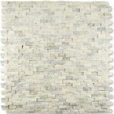 Diamond Tech Glass Contours Classical Random Brick Chiseled Mosaic Statuary White