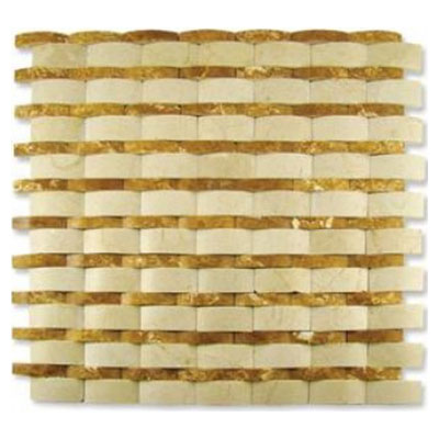 Diamond Tech Glass Contours Rome Interlocking Wave Polished Crema Marfil / Gold Travertine T911