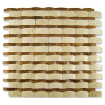 Diamond Tech Glass Contours Rome Interlocking Wave Polished Crema Marfil / Timber T909