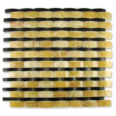 Diamond Tech Glass Contours Rome Interlocking Wave Polished Honey Onyx / Black Marble T910