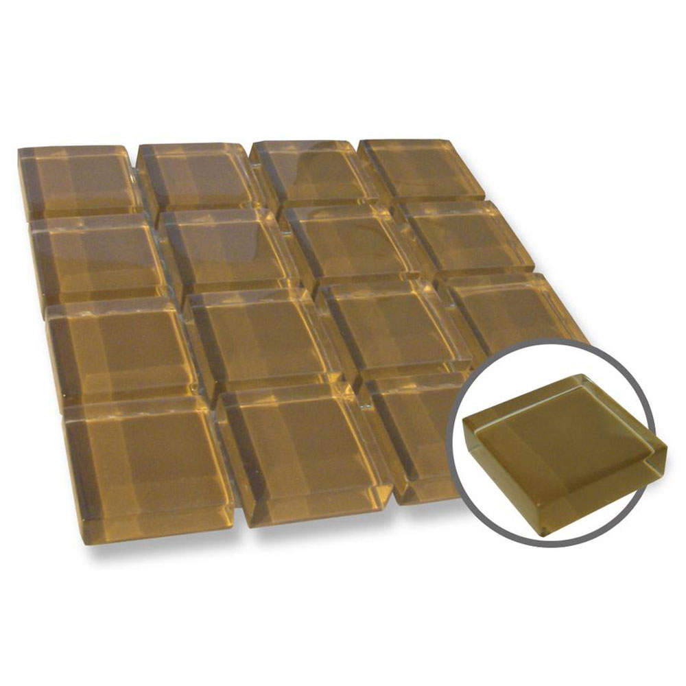 Diamond Tech Glass Dimension Mosaic 1 x 1 Chocolate T520