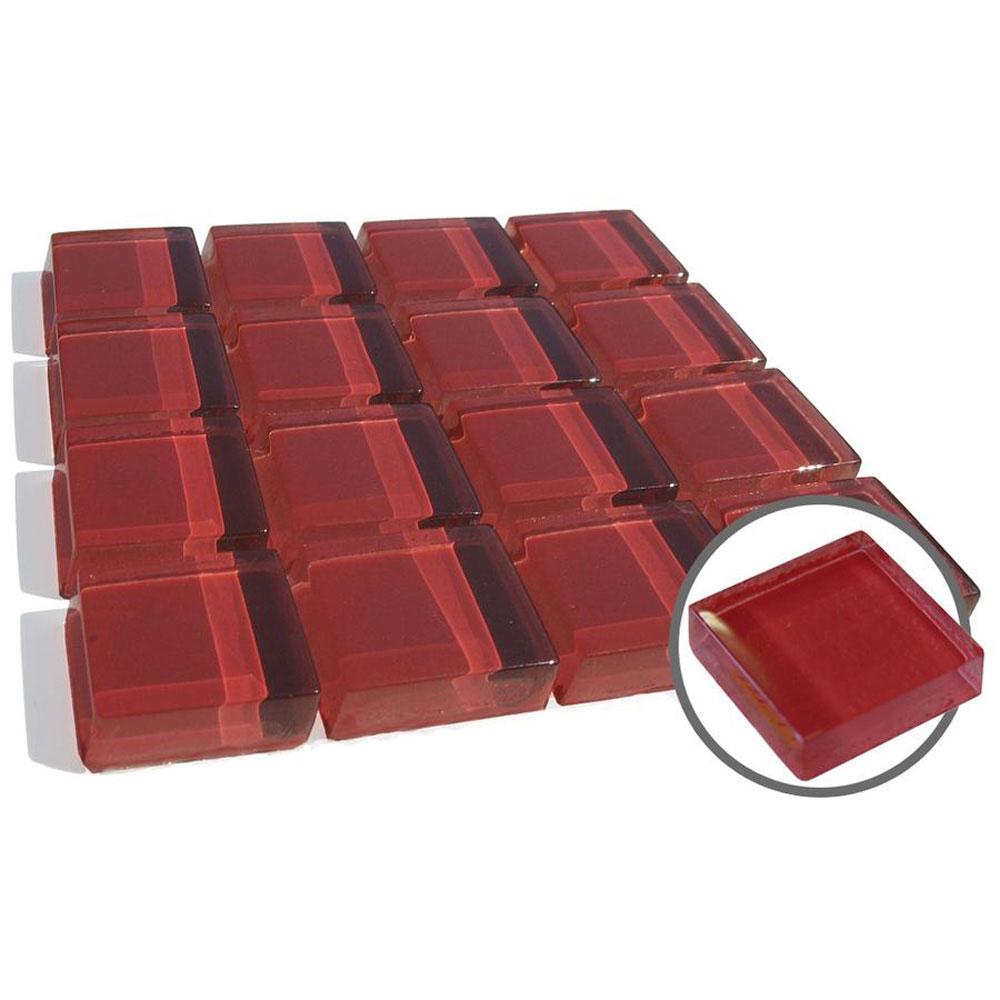 Diamond Tech Glass Dimension Mosaic 1 x 1 Red T455