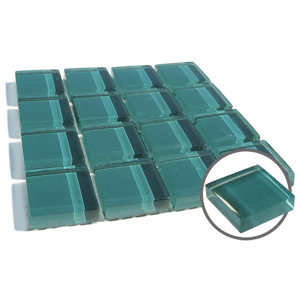 Diamond Tech Glass Dimension Mosaic 1 x 1 Teal T454