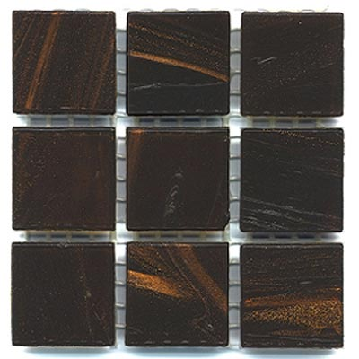 Diamond Tech Glass Mosaic Glass Series - Gold Veined Dark Brown T200G