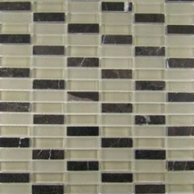 Diamond Tech Glass Impact 5/8 Stacked Glass & Stone Mosaic French Roast T874