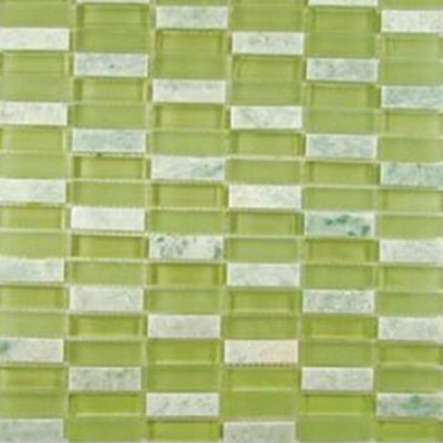 Diamond Tech Glass Impact 5/8 Stacked Glass & Stone Mosaic Green Tea T877