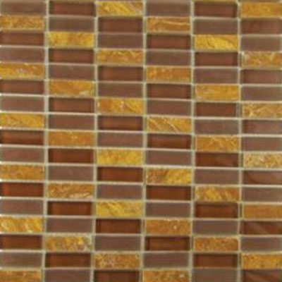 Diamond Tech Glass Impact 5/8 Stacked Glass & Stone Mosaic Parchment T880