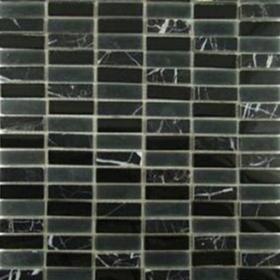 Diamond Tech Glass Impact 5/8 Stacked Glass & Stone Mosaic Midnight T889