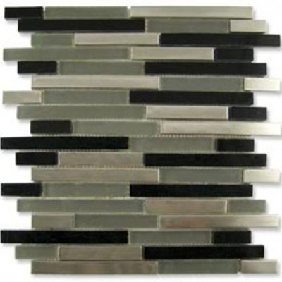 Diamond Tech Glass Impact 5/8 Staggered Glass & Stone Mosaic Nocturne Staggered T872