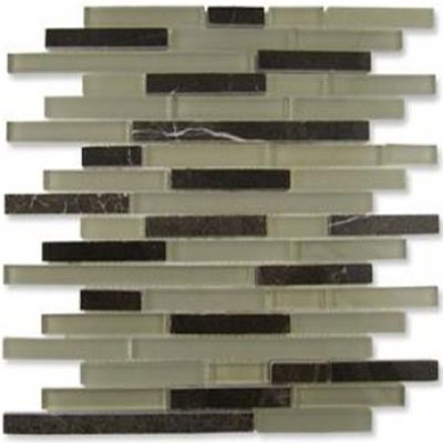 Diamond Tech Glass Impact 5/8 Staggered Glass & Stone Mosaic French Roast Staggered T875