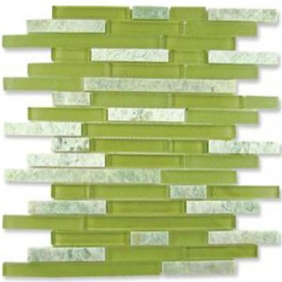 Diamond Tech Glass Impact 5/8 Staggered Glass & Stone Mosaic Green Tea Staggered T878