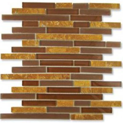 Diamond Tech Glass Impact 5/8 Staggered Glass & Stone Mosaic Parchment Staggered T881