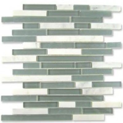 Diamond Tech Glass Impact 5/8 Staggered Glass & Stone Mosaic Storm Staggered T887
