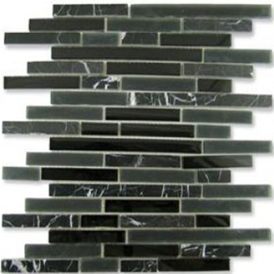 Diamond Tech Glass Impact 5/8 Staggered Glass & Stone Mosaic Midnight Staggered T890