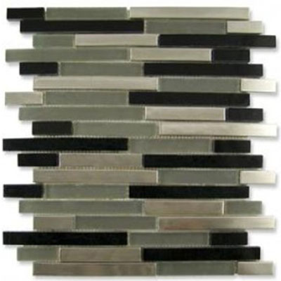 Diamond Tech Glass Impact 5/8 Staggered Glass & Stone & Metal Mosaic Nocturne Staggered T872METAL