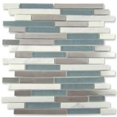Diamond Tech Glass Impact 5/8 Staggered Glass & Stone & Metal Mosaic Storm Staggered T887METAL