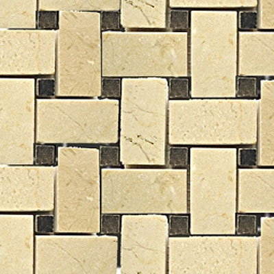 Diamond Tech Glass Stone Series Basketweave Crema/Emperador Dot T791