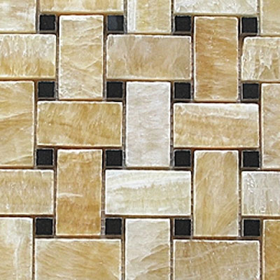 Diamond Tech Glass Stone Series Basketweave Honey/Black Dot T790