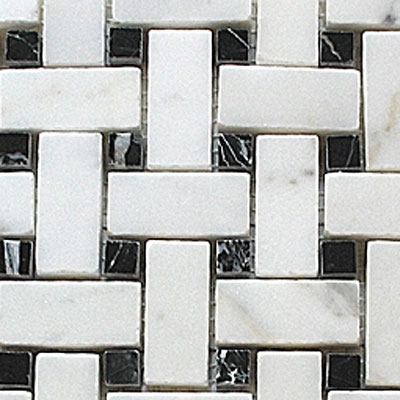 Diamond Tech Glass Stone Series Basketweave White/Black Dot T792