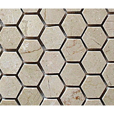 Diamond Tech Glass Stone Series Hexagon Honed Mosaic Crema Marfil T743