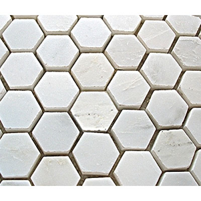 Diamond Tech Glass Stone Series Hexagon Honed Mosaic White Statuary T747