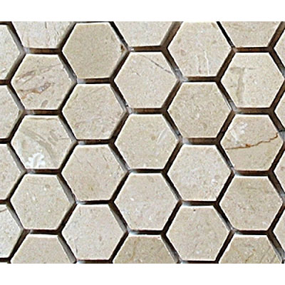 Diamond Tech Glass Stone Series Hexagon Polished Mosaic Crema Marfil T742