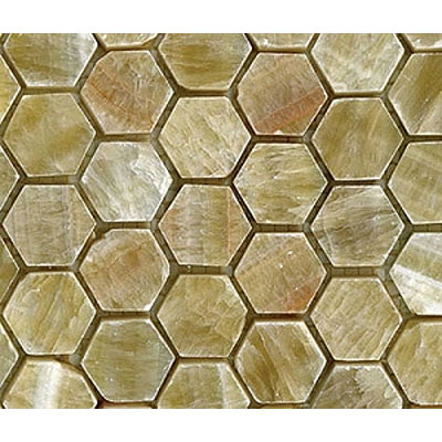 Diamond Tech Glass Stone Series Hexagon Polished Mosaic Honey Onyx T744
