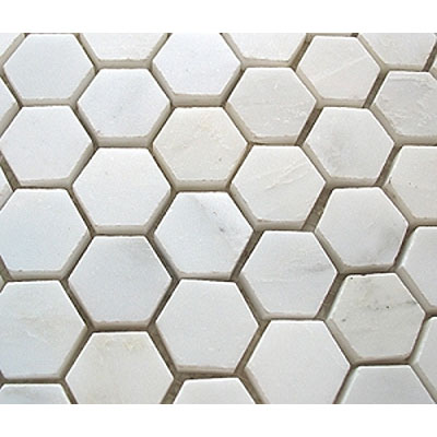 Diamond Tech Glass Stone Series Hexagon Polished Mosaic White Statuary T746