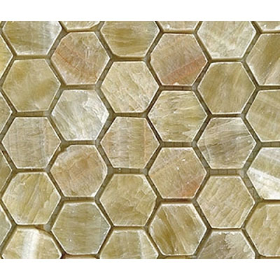 Diamond Tech Glass Stone Series Hexagon Tumbled Mosaic Honey Onyx T745