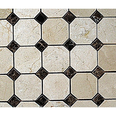 Diamond Tech Glass Stone Series Octagon/Dot Mosaic Crema Marfil/Emperador Dot T782