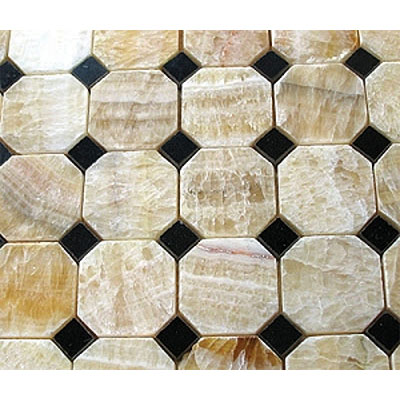 Diamond Tech Glass Marble Series Octagon/Dot Mosaic Honey Onyx/Black Marble Dot T781