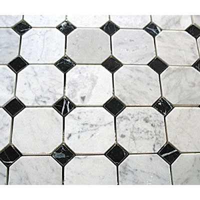 Diamond Tech Glass Marble Series Octagon/Dot Mosaic White Statuary/Black Dot T783