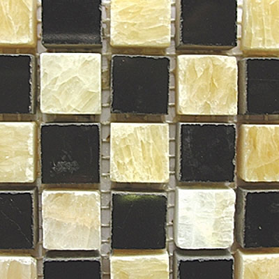 Diamond Tech Glass Stone Series 5/8 Polished Mosaic Honey Onyx/Black Marble T727